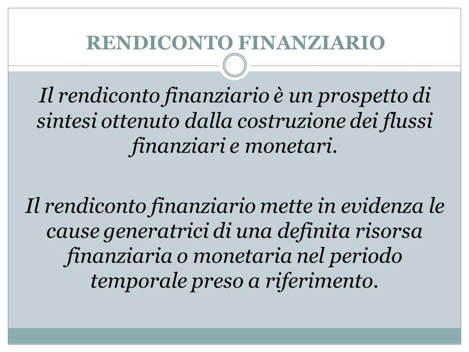 RENDICONTO FINANZIARIO Il rendiconto finanziario è un prospetto di sintesi ottenuto dalla costruzione dei flussi finanziari e monetari. Il rendiconto