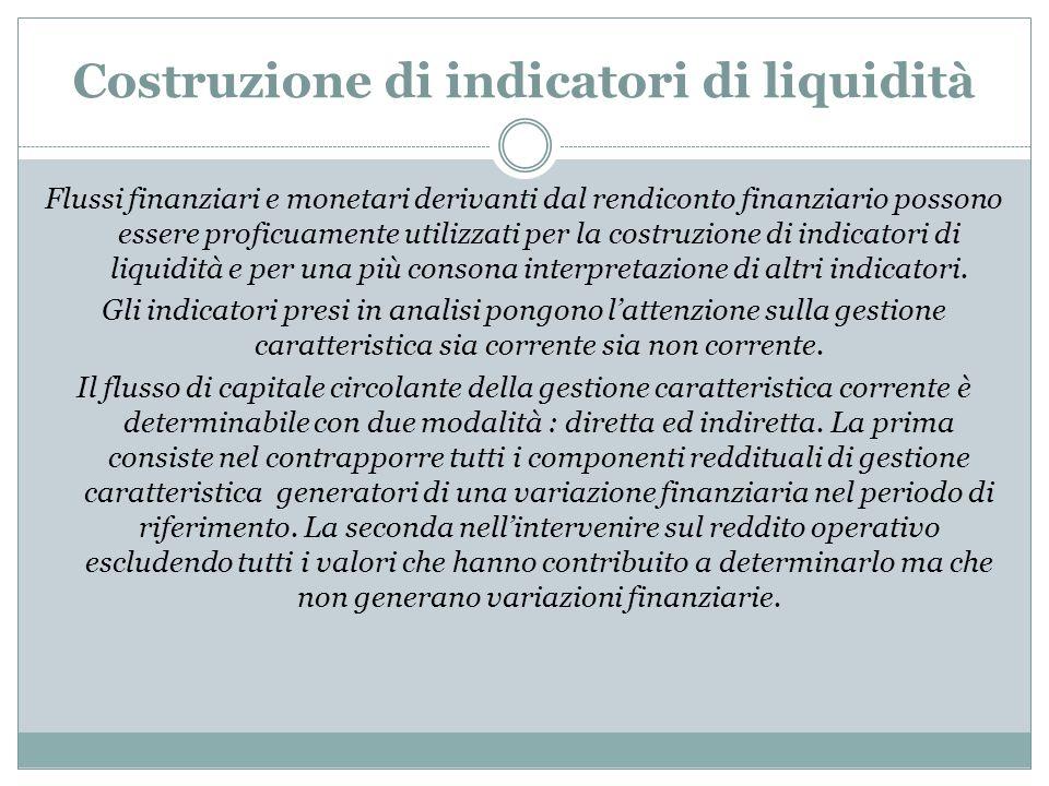Costruzione di indicatori di liquidità Flussi finanziari e monetari derivanti dal rendiconto finanziario possono essere proficuamente utilizzati per l