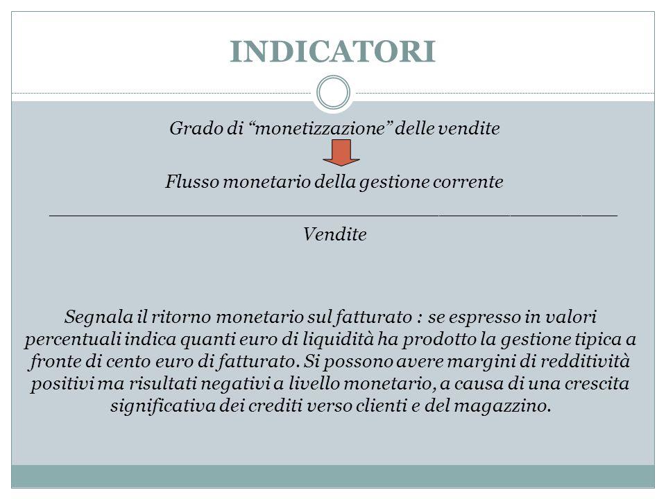 """INDICATORI Grado di """"monetizzazione"""" delle vendite Flusso monetario della gestione corrente ________________________________________________ Vendite S"""