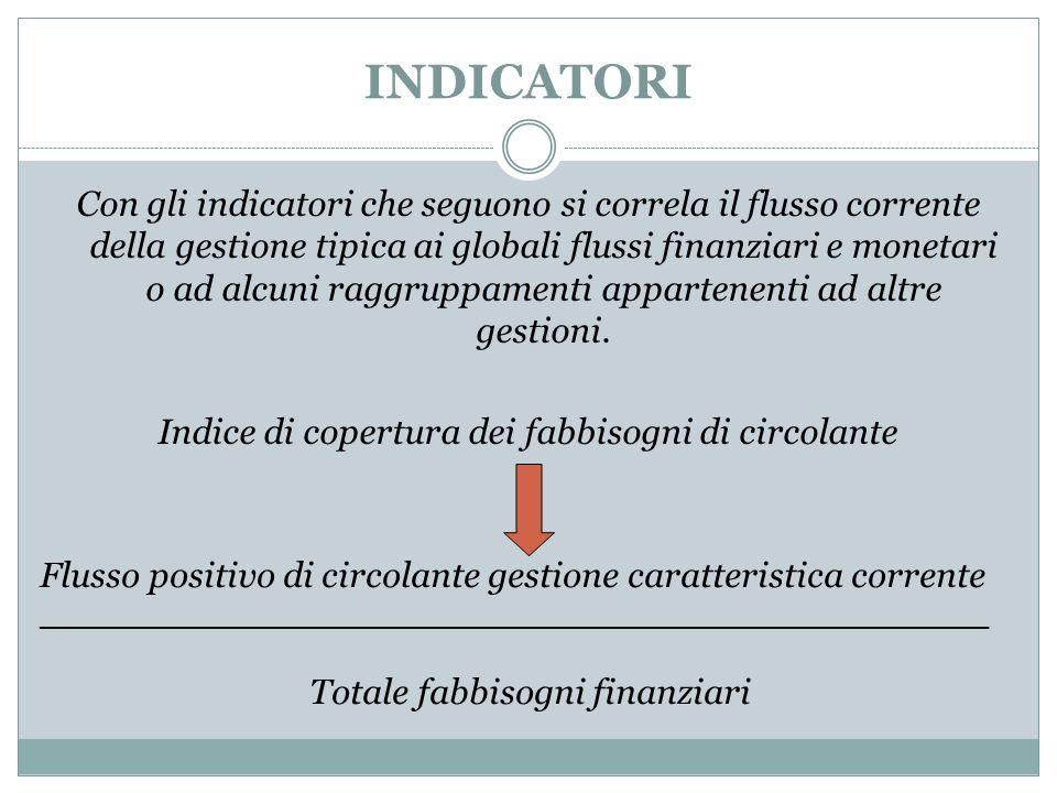 INDICATORI Con gli indicatori che seguono si correla il flusso corrente della gestione tipica ai globali flussi finanziari e monetari o ad alcuni ragg