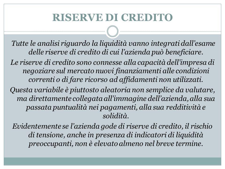 RISERVE DI CREDITO Tutte le analisi riguardo la liquidità vanno integrati dall'esame delle riserve di credito di cui l'azienda può beneficiare. Le ris