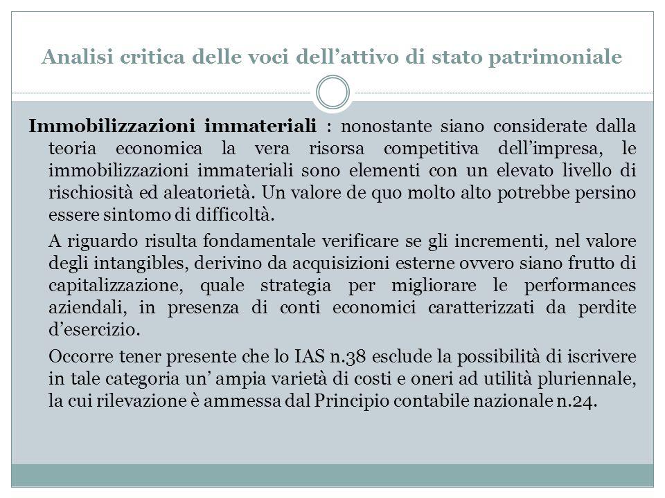 Analisi critica delle voci dell'attivo di stato patrimoniale Immobilizzazioni immateriali : nonostante siano considerate dalla teoria economica la ver