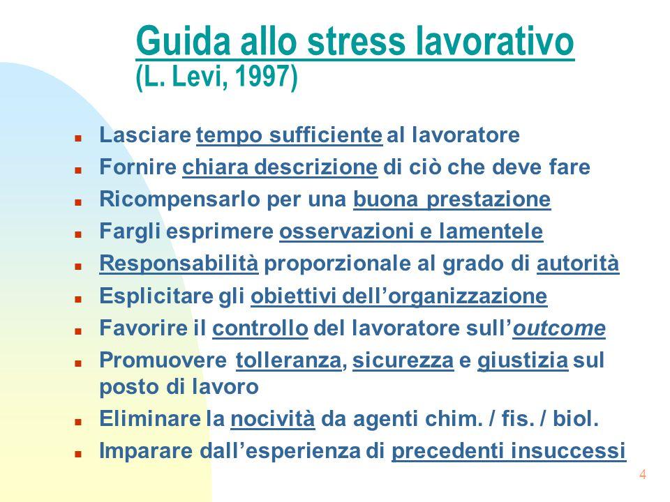 4 Guida allo stress lavorativo (L. Levi, 1997) n Lasciare tempo sufficiente al lavoratore n Fornire chiara descrizione di ciò che deve fare n Ricompen