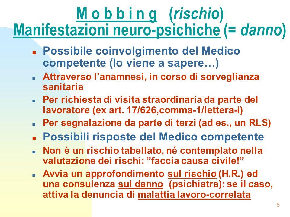 5 M o b b i n g ( rischio ) Manifestazioni neuro-psichiche (= danno ) n Possibile coinvolgimento del Medico competente (lo viene a sapere…) n Attraver