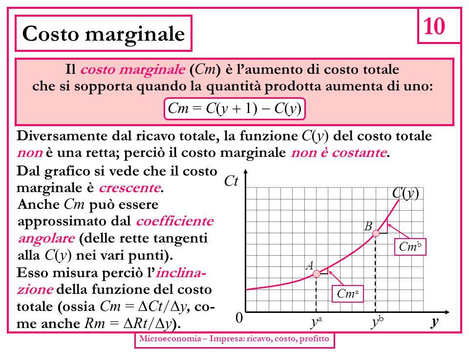 10 Microeconomia – Impresa: ricavo, costo, profitto Costo marginale Il costo marginale ( Cm ) è l'aumento di costo totale che si sopporta quando la qu