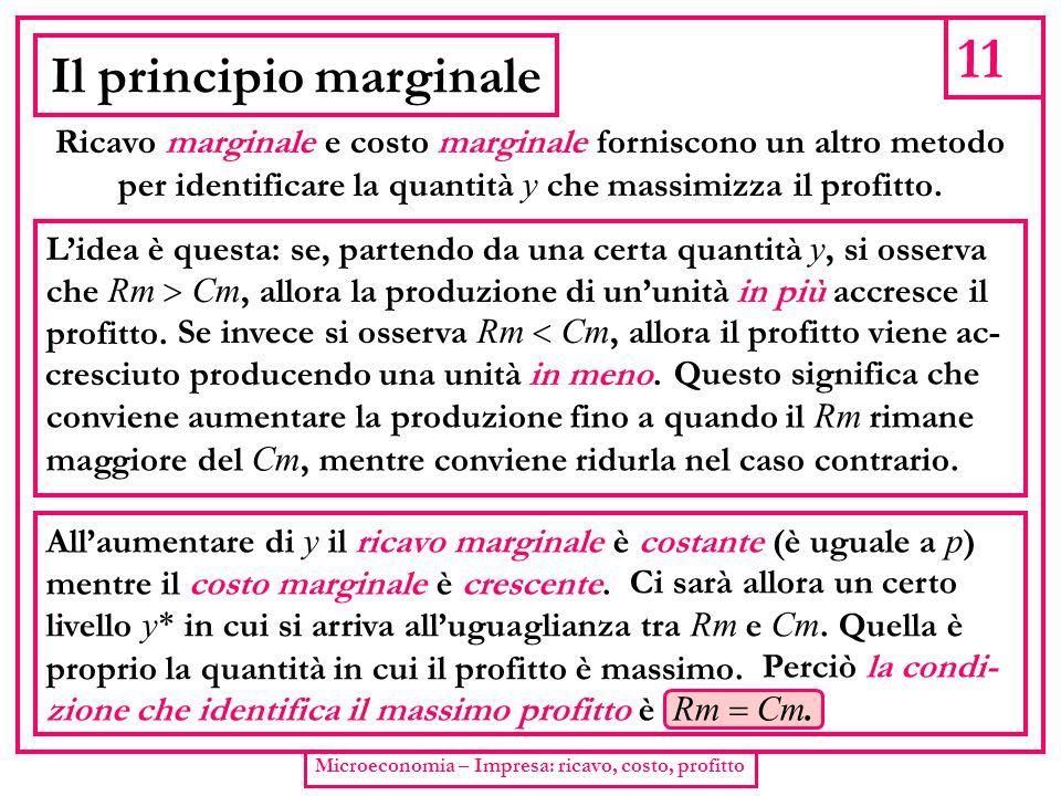 11 Microeconomia – Impresa: ricavo, costo, profitto Il principio marginale Ricavo marginale e costo marginale forniscono un altro metodo per identific