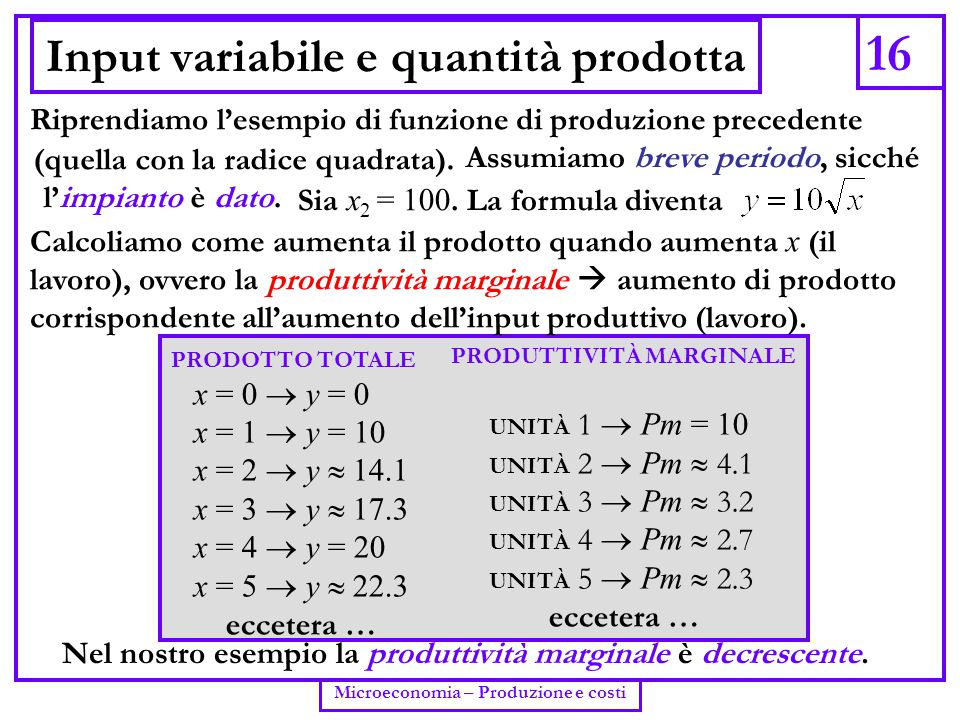 16 Microeconomia – Produzione e costi Input variabile e quantità prodotta PRODOTTO TOTALE x = 0  y = 0 x = 1  y = 10 x = 2  y  14.1 x = 3  y  17