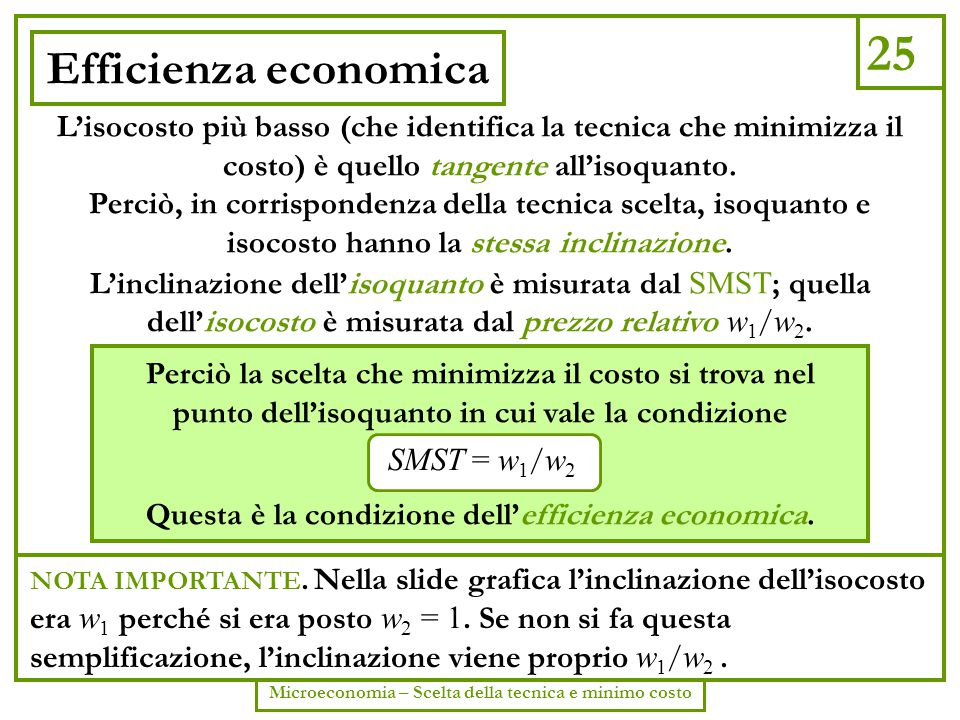 25 Microeconomia – Scelta della tecnica e minimo costo Efficienza economica L'isocosto più basso (che identifica la tecnica che minimizza il costo) è