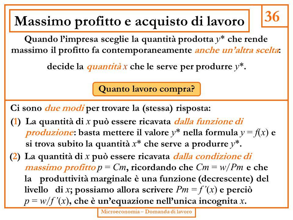 36 Microeconomia – Domanda di lavoro Massimo profitto e acquisto di lavoro Quando l'impresa sceglie la quantità prodotta y* che rende massimo il profi