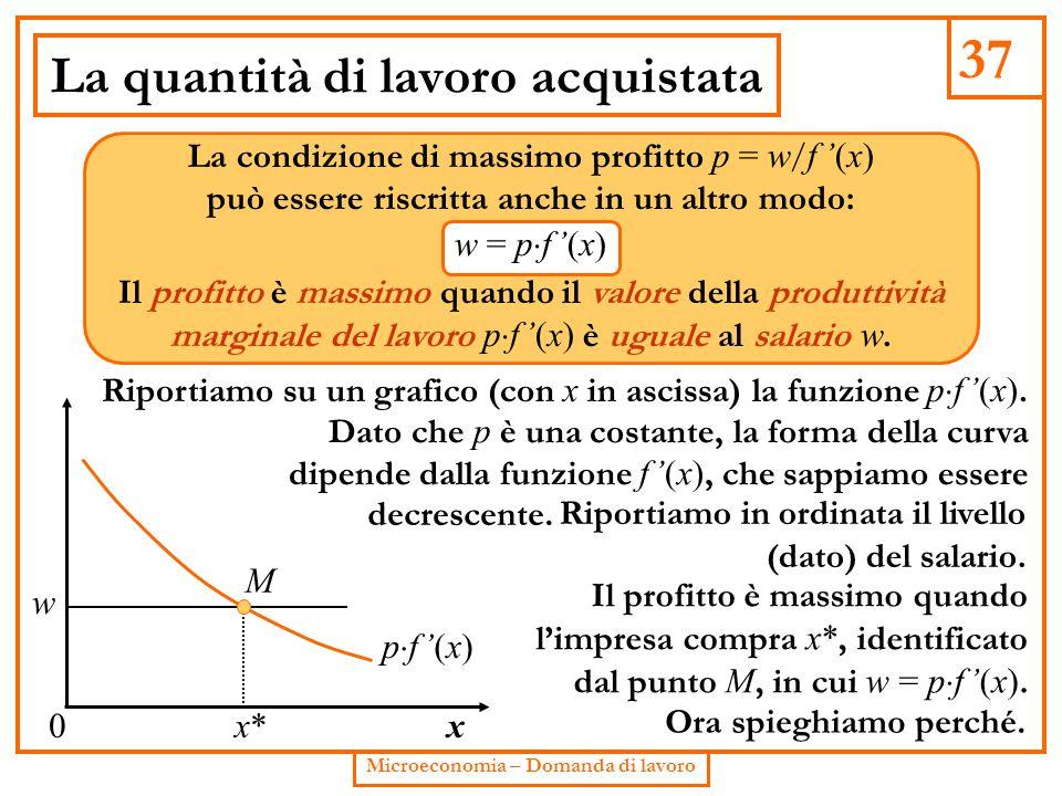 37 Microeconomia – Domanda di lavoro La quantità di lavoro acquistata La condizione di massimo profitto p = w / f '(x) può essere riscritta anche in u