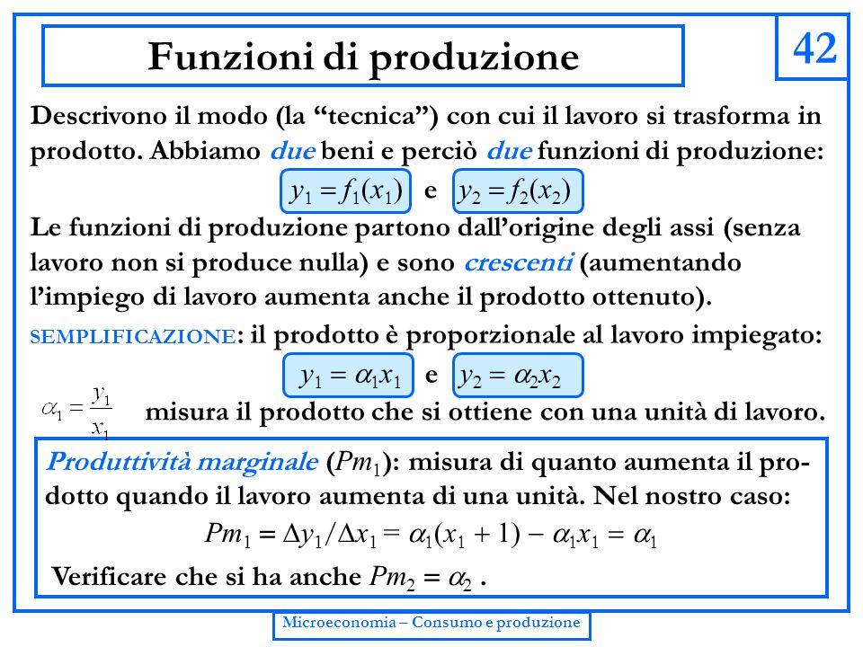 """42 Microeconomia – Consumo e produzione Funzioni di produzione Descrivono il modo (la """"tecnica"""") con cui il lavoro si trasforma in prodotto. Abbiamo d"""