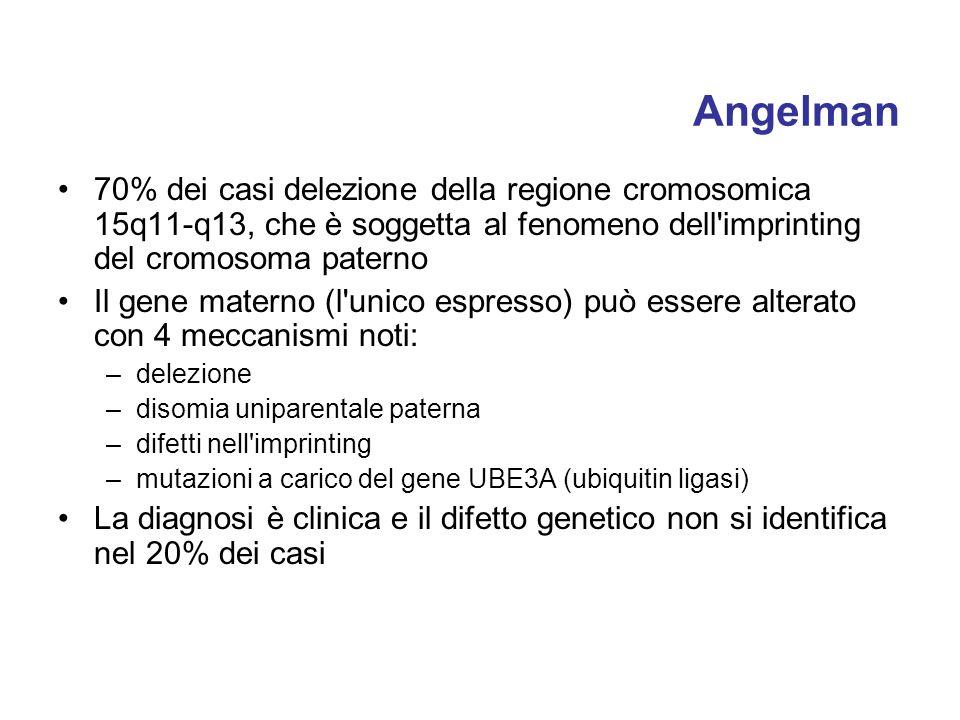 Angelman 70% dei casi delezione della regione cromosomica 15q11-q13, che è soggetta al fenomeno dell'imprinting del cromosoma paterno Il gene materno