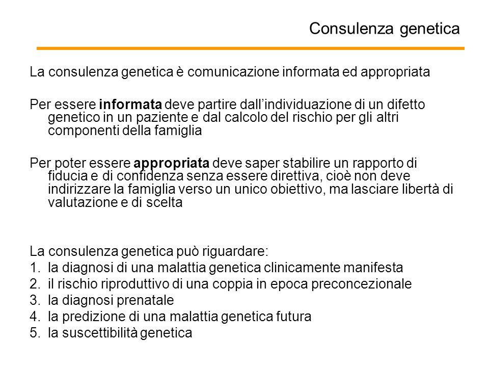 Consulenza genetica La consulenza genetica è comunicazione informata ed appropriata Per essere informata deve partire dall'individuazione di un difett