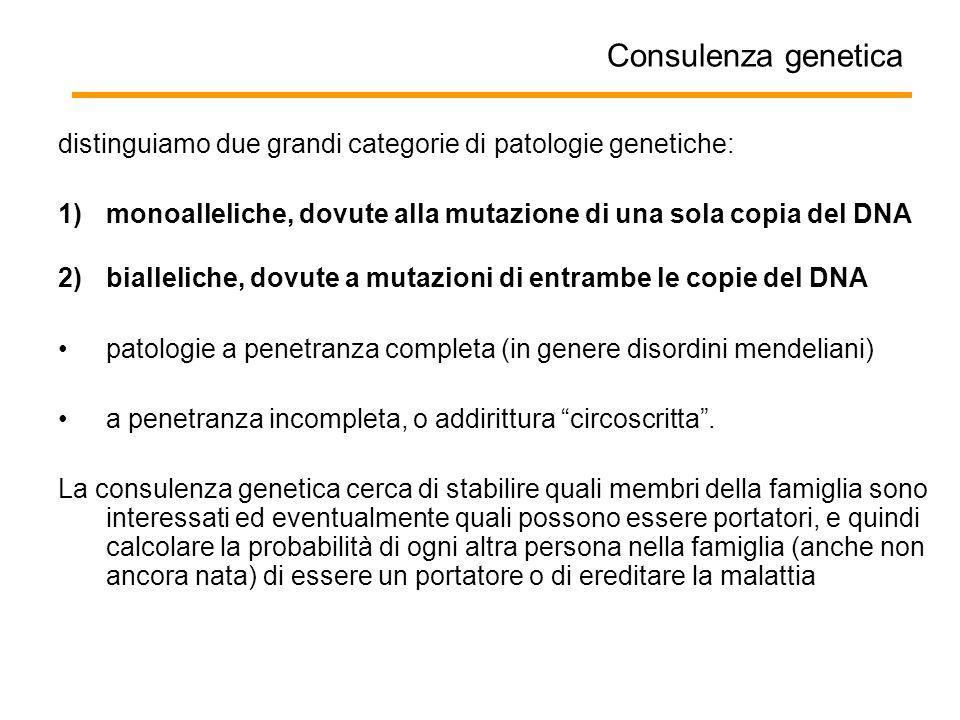 Consulenza genetica distinguiamo due grandi categorie di patologie genetiche: 1)monoalleliche, dovute alla mutazione di una sola copia del DNA 2)biall