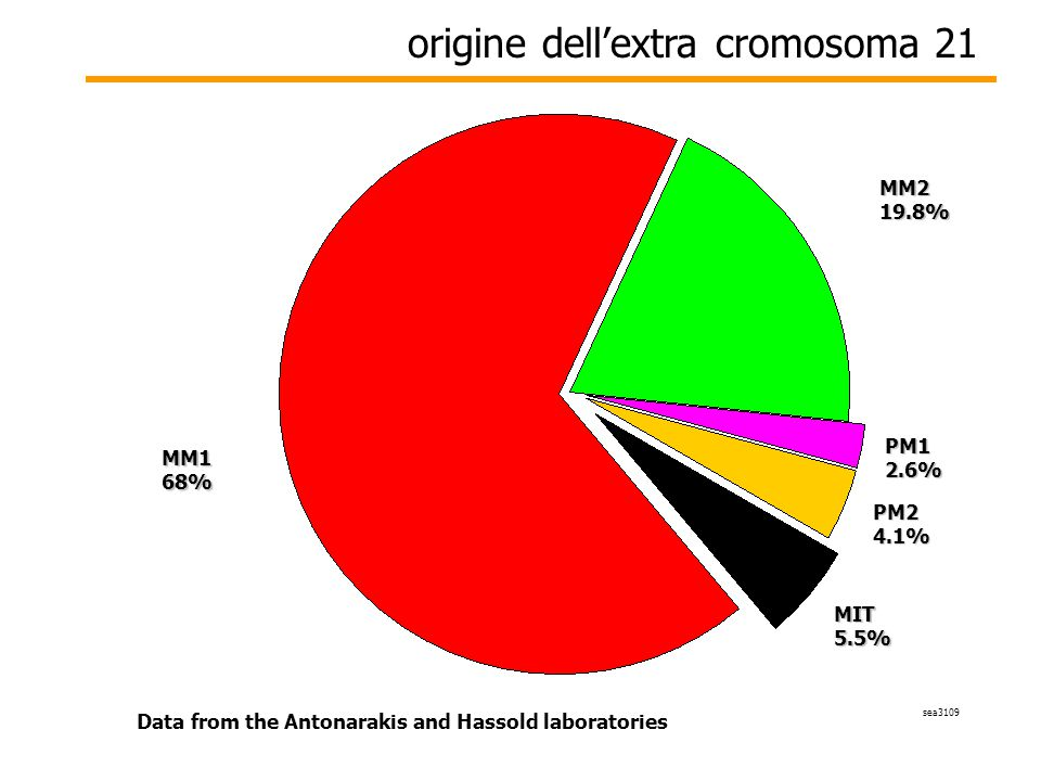 origine dell'extra cromosoma 21 sea3109 Data from the Antonarakis and Hassold laboratories MM168% MIT5.5% PM12.6% MM219.8% PM24.1%