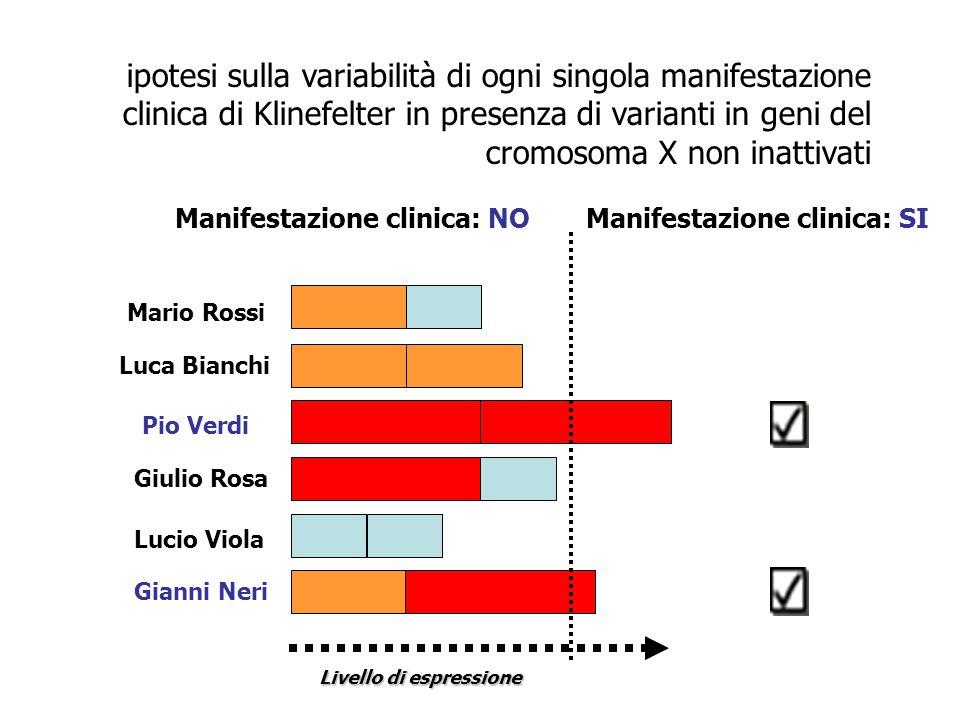 Manifestazione clinica: SI Livello di espressione ipotesi sulla variabilità di ogni singola manifestazione clinica di Klinefelter in presenza di varia
