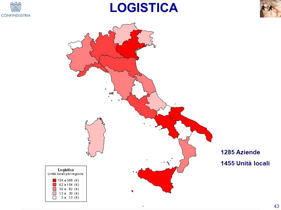 43 1285 Aziende 1455 Unità locali LOGISTICA