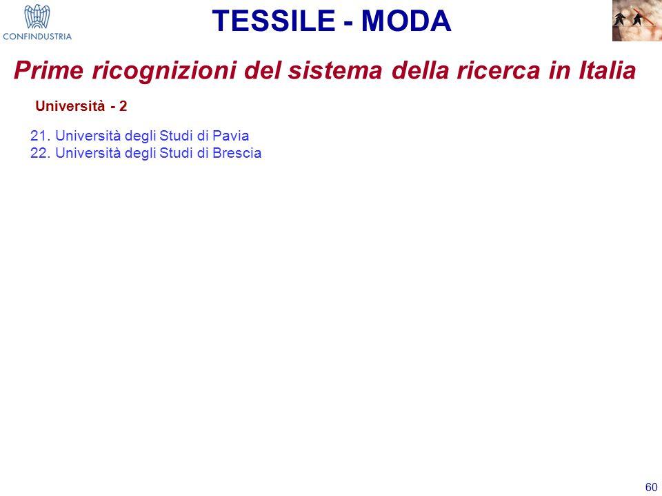 60 TESSILE - MODA Prime ricognizioni del sistema della ricerca in Italia Università - 2 21.Università degli Studi di Pavia 22.Università degli Studi di Brescia