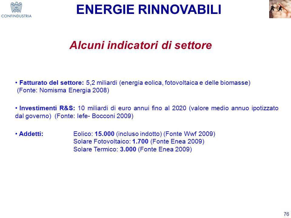 76 Alcuni indicatori di settore ENERGIE RINNOVABILI Fatturato del settore: 5,2 miliardi (energia eolica, fotovoltaica e delle biomasse) (Fonte: Nomisma Energia 2008) Investimenti R&S: 10 miliardi di euro annui fino al 2020 (valore medio annuo ipotizzato dal governo) (Fonte: Iefe- Bocconi 2009) Addetti: Eolico: 15.000 (incluso indotto) (Fonte Wwf 2009) Solare Fotovoltaico: 1.700 (Fonte Enea 2009) Solare Termico: 3.000 (Fonte Enea 2009)