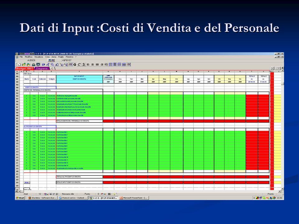 Dati di Input :Costi di Vendita e del Personale