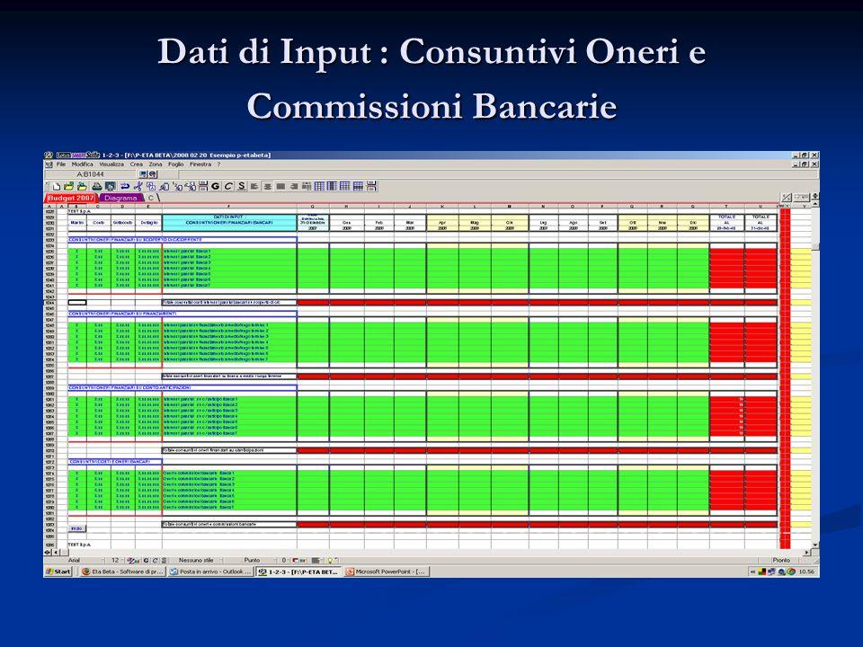 Dati di Input : Consuntivi Oneri e Commissioni Bancarie