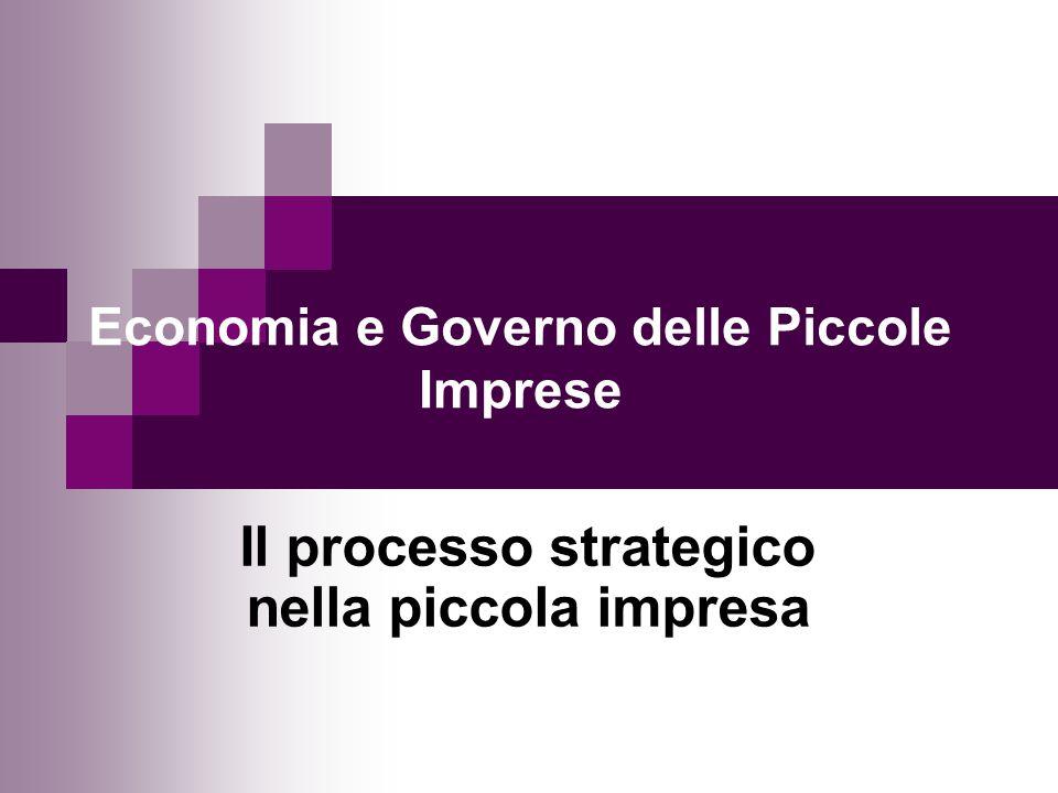 Economia e Governo delle Piccole Imprese Il processo strategico nella piccola impresa