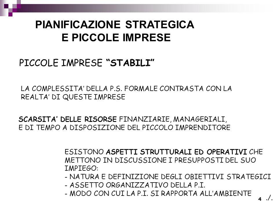 4 PIANIFICAZIONE STRATEGICA E PICCOLE IMPRESE PICCOLE IMPRESE STABILI LA COMPLESSITA' DELLA P.S.