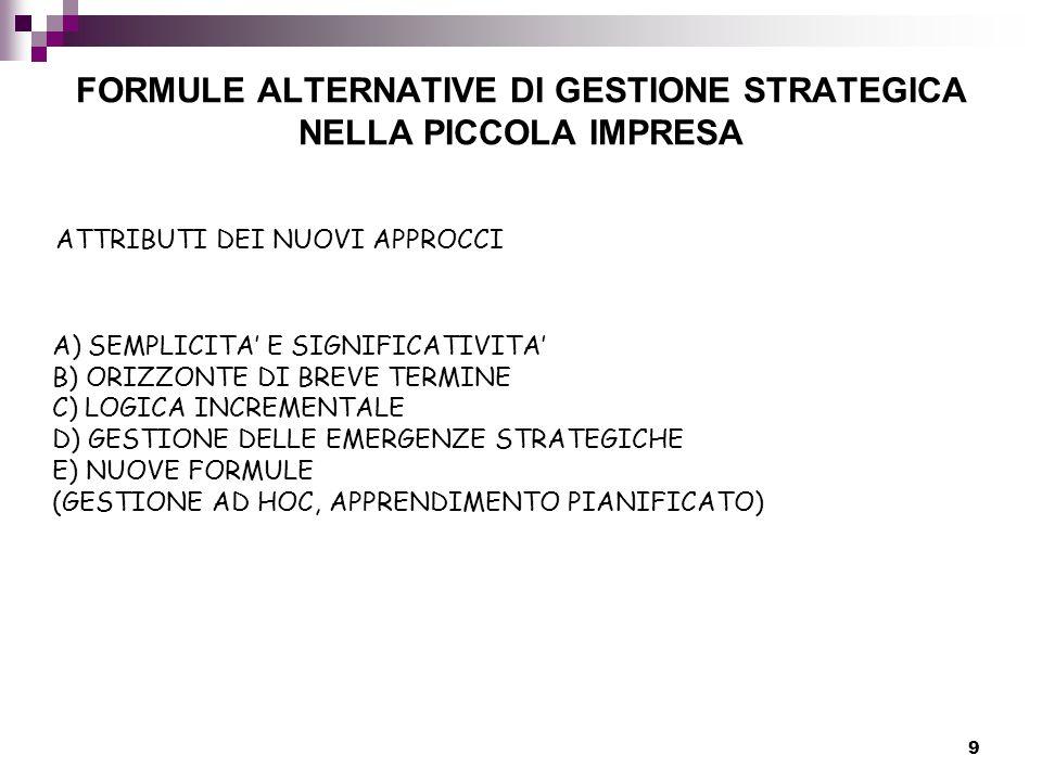 9 FORMULE ALTERNATIVE DI GESTIONE STRATEGICA NELLA PICCOLA IMPRESA ATTRIBUTI DEI NUOVI APPROCCI A) SEMPLICITA' E SIGNIFICATIVITA' B) ORIZZONTE DI BREVE TERMINE C) LOGICA INCREMENTALE D) GESTIONE DELLE EMERGENZE STRATEGICHE E) NUOVE FORMULE (GESTIONE AD HOC, APPRENDIMENTO PIANIFICATO)