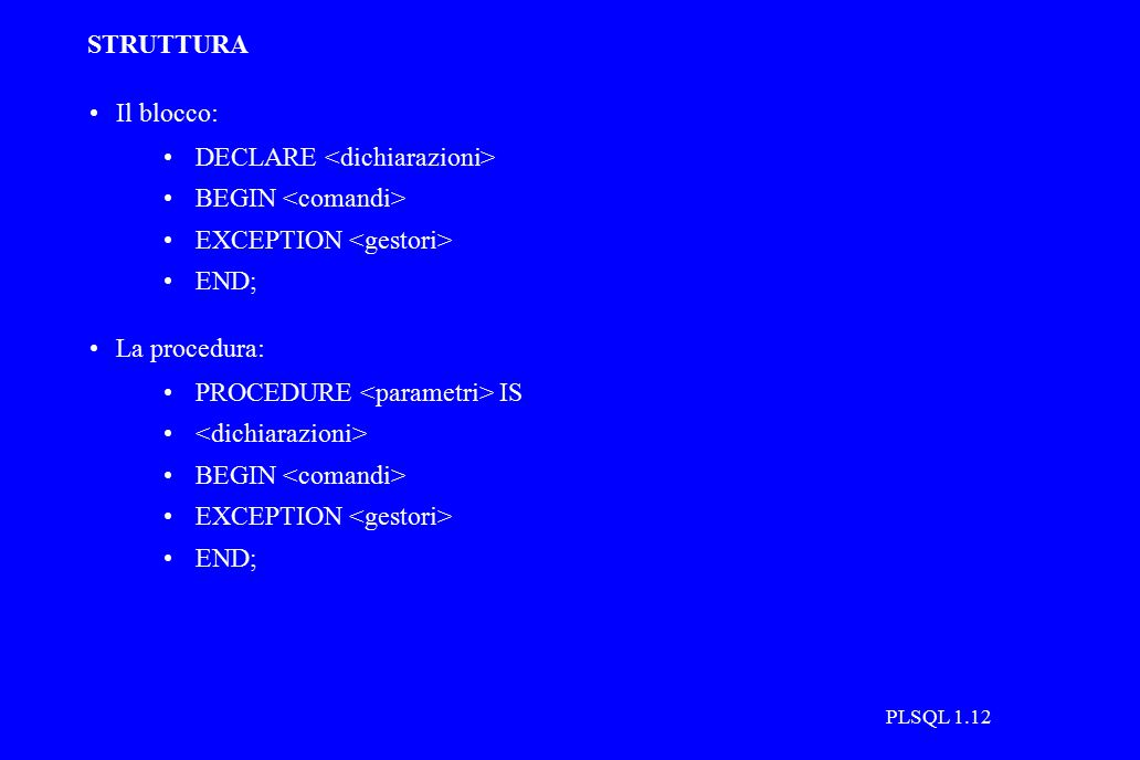 PLSQL 1.12 STRUTTURA Il blocco: DECLARE BEGIN EXCEPTION END; La procedura: PROCEDURE IS BEGIN EXCEPTION END;