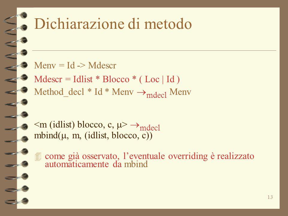 13 Dichiarazione di metodo Menv = Id -> Mdescr Mdescr = Idlist * Blocco * ( Loc | Id ) Method_decl * Id * Menv  mdecl Menv  mdecl mbind( , m, (idlist, blocco, c)) 4 come già osservato, l'eventuale overriding è realizzato automaticamente da mbind