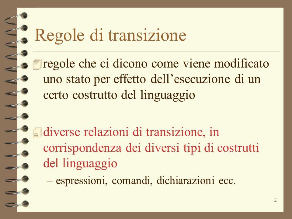2 Regole di transizione 4 regole che ci dicono come viene modificato uno stato per effetto dell'esecuzione di un certo costrutto del linguaggio 4 diverse relazioni di transizione, in corrispondenza dei diversi tipi di costrutti del linguaggio –espressioni, comandi, dichiarazioni ecc.