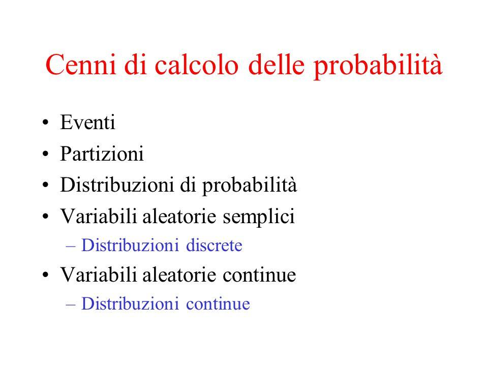 Cenni di calcolo delle probabilità Eventi Partizioni Distribuzioni di probabilità Variabili aleatorie semplici –Distribuzioni discrete Variabili aleat