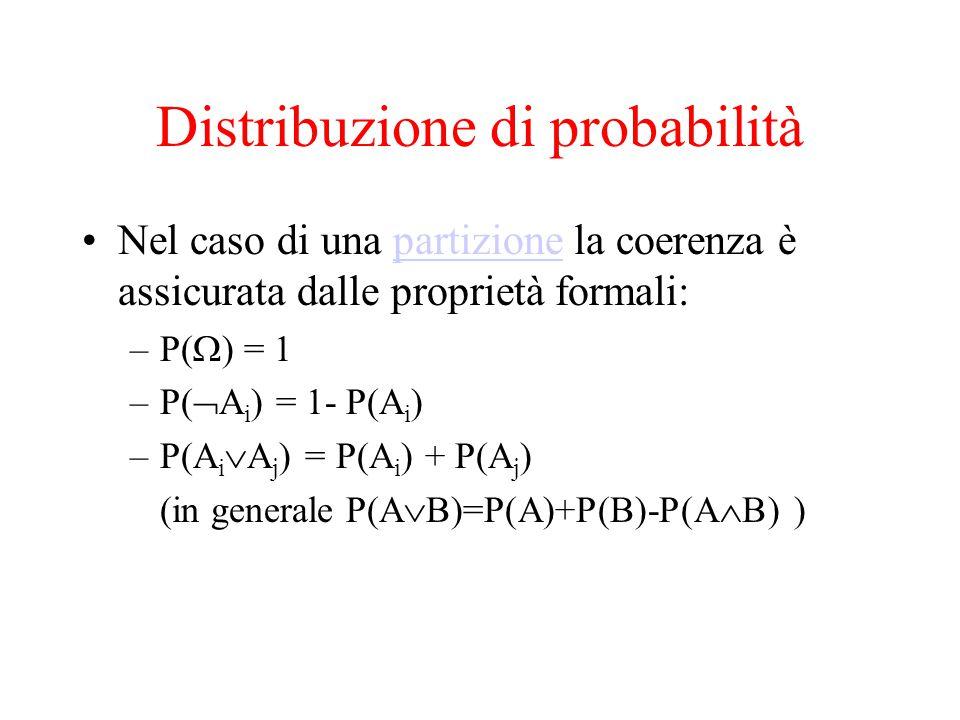 Distribuzione di probabilità Nel caso di una partizione la coerenza è assicurata dalle proprietà formali:partizione –P(  ) = 1 –P(  A i ) = 1- P(A i