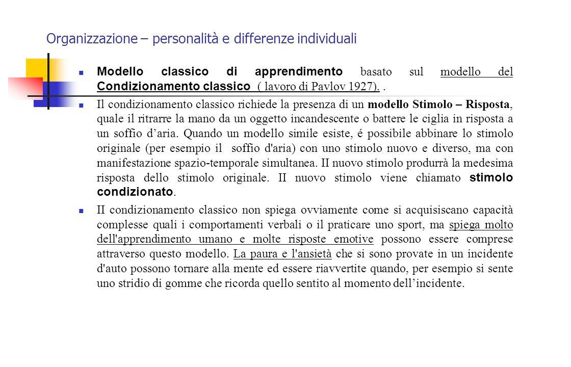 Organizzazione – personalità e differenze individuali Modello classico di apprendimento basato sul modello del Condizionamento classico ( lavoro di Pa