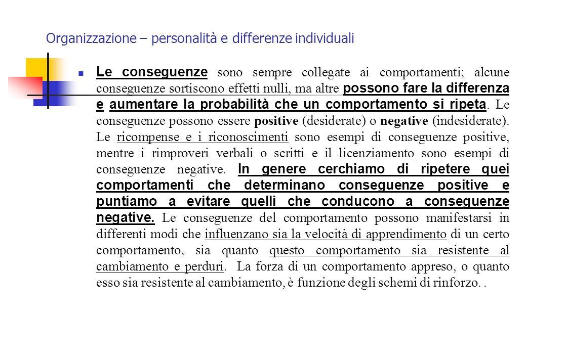 Organizzazione – personalità e differenze individuali Le conseguenze sono sempre collegate ai comportamenti; alcune conseguenze sortiscono effetti nul