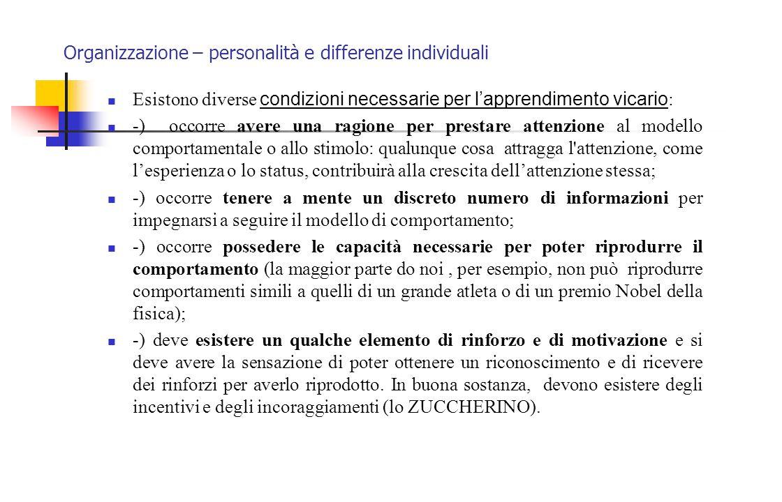 Organizzazione – personalità e differenze individuali Esistono diverse condizioni necessarie per l'apprendimento vicario : -) occorre avere una ragion