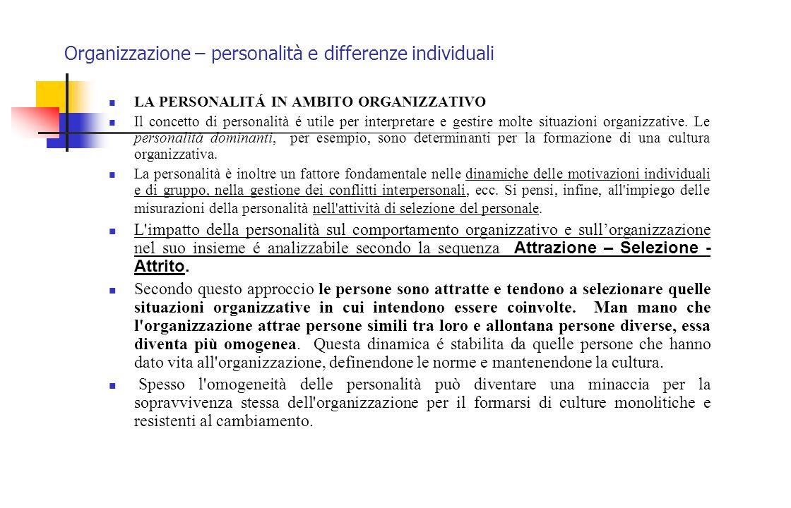 Organizzazione – personalità e differenze individuali LA PERSONALITÁ IN AMBITO ORGANIZZATIVO Il concetto di personalità é utile per interpretare e ges