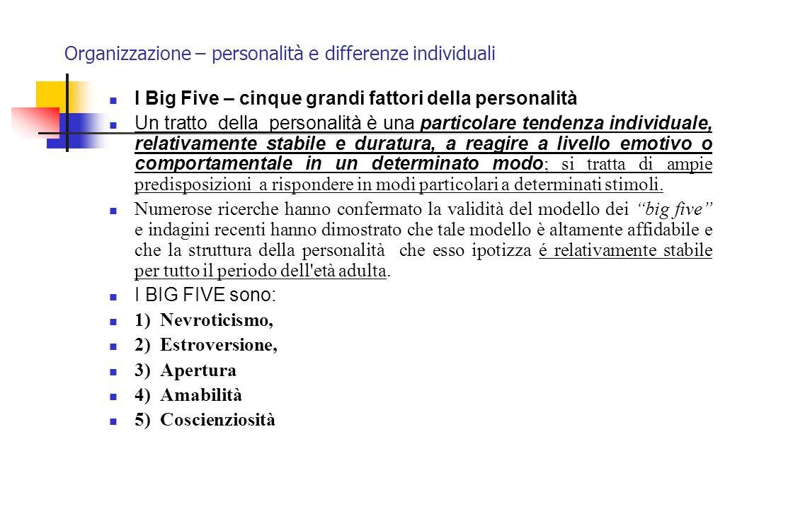 Organizzazione – personalità e differenze individuali I Big Five – cinque grandi fattori della personalità Un tratto della personalità è una particola