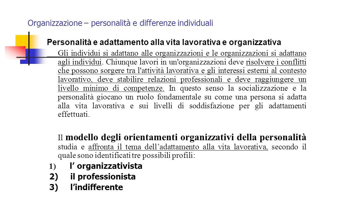 Organizzazione – personalità e differenze individuali Personalità e adattamento alla vita lavorativa e organizzativa Gli individui si adattano alle or