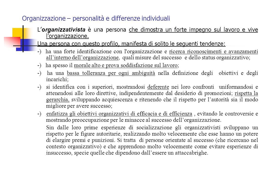 Organizzazione – personalità e differenze individuali L' organizzativista è una persona che dimostra un forte impegno sul lavoro e vive l'organizzazio