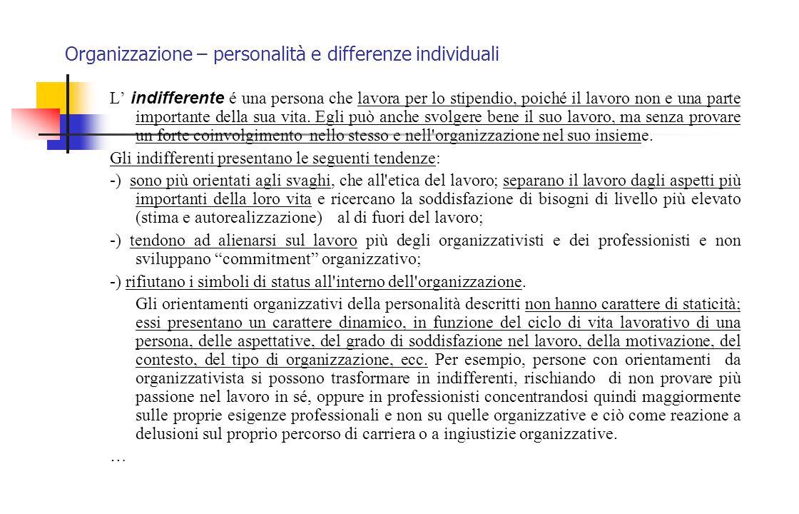 Organizzazione – personalità e differenze individuali L' indifferente é una persona che lavora per lo stipendio, poiché il lavoro non e una parte impo