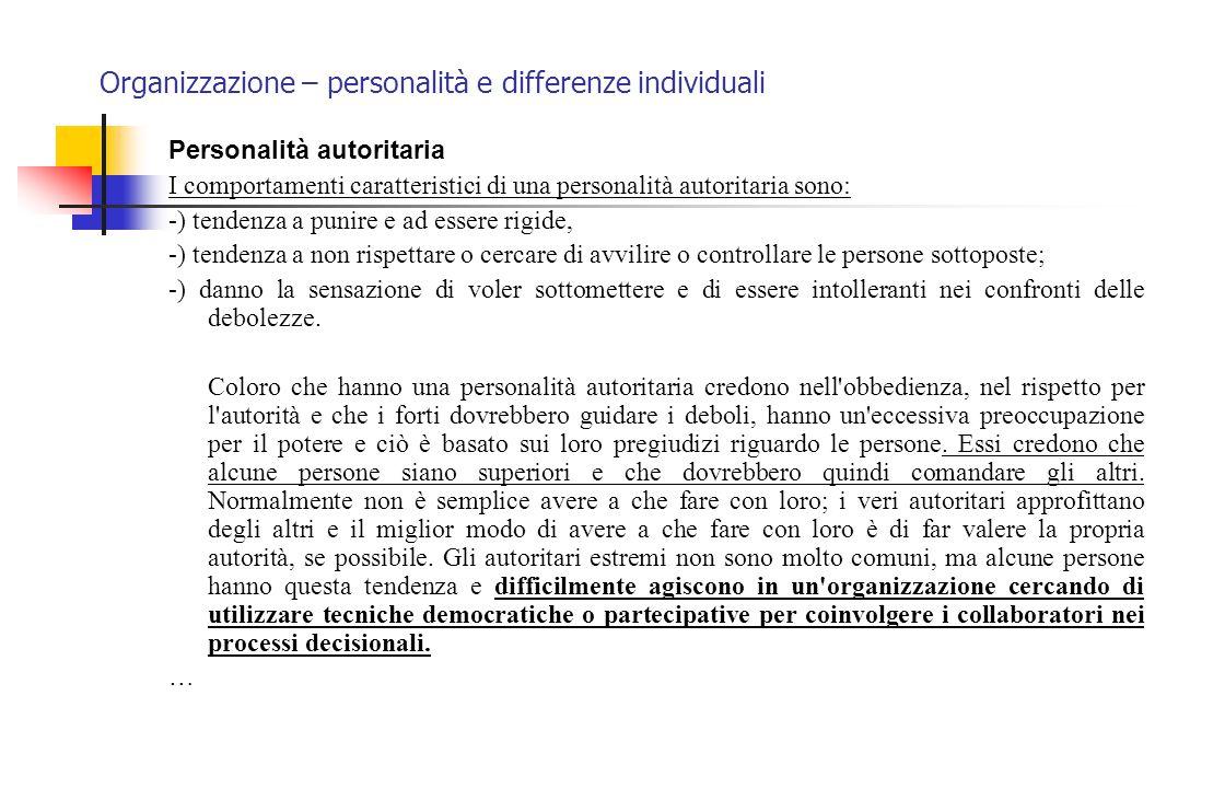 Organizzazione – personalità e differenze individuali Personalità autoritaria I comportamenti caratteristici di una personalità autoritaria sono: -) t