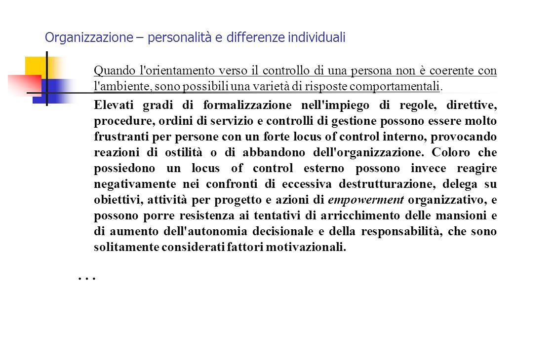 Organizzazione – personalità e differenze individuali Quando l'orientamento verso il controllo di una persona non è coerente con l'ambiente, sono poss
