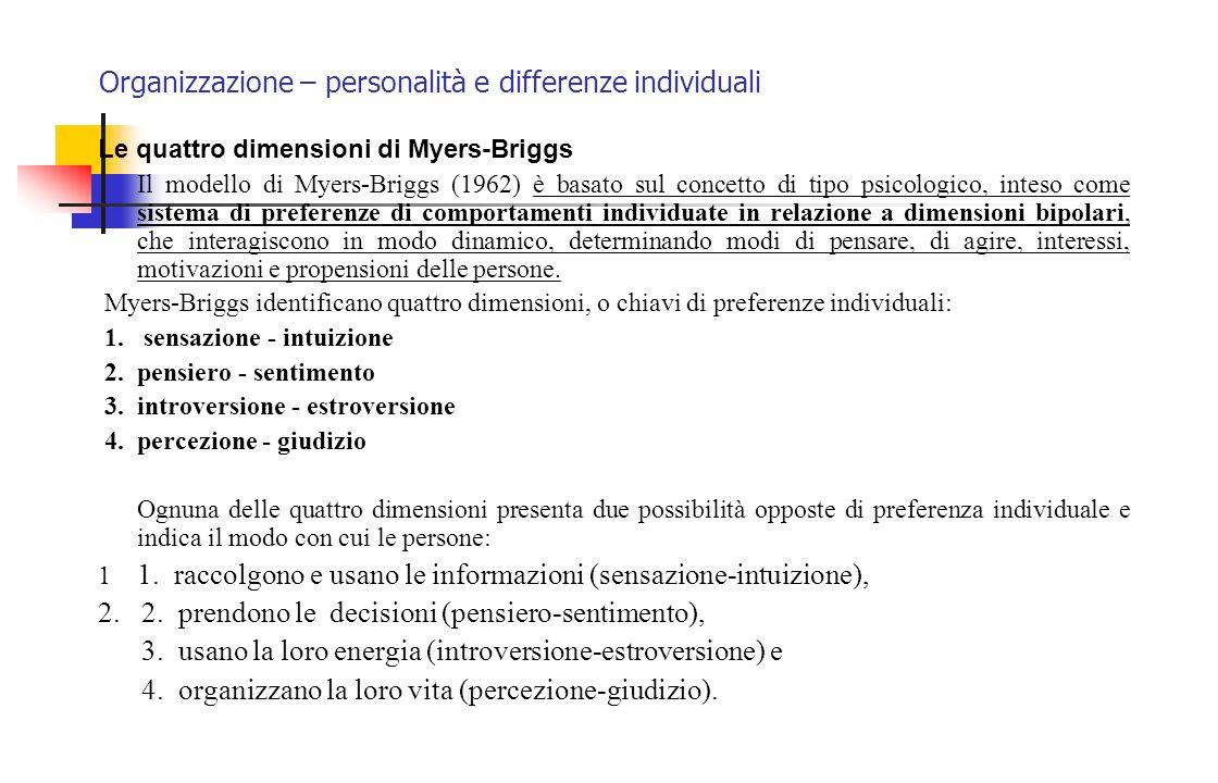 Organizzazione – personalità e differenze individuali Le quattro dimensioni di Myers-Briggs Il modello di Myers-Briggs (1962) è basato sul concetto di