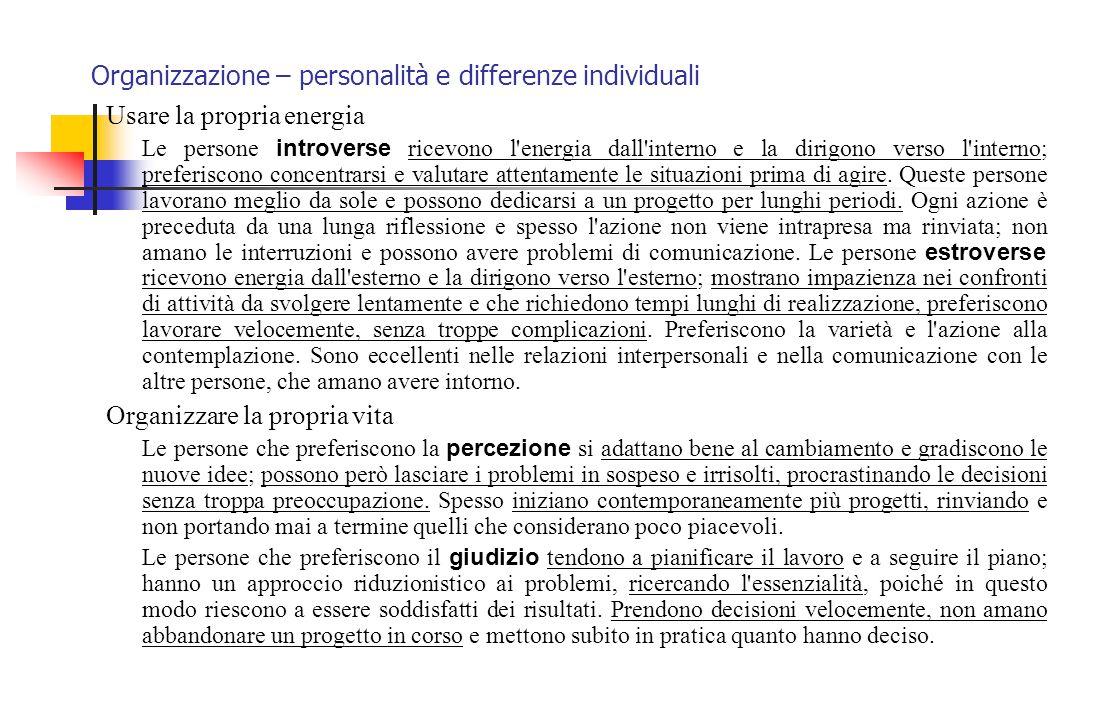 Organizzazione – personalità e differenze individuali Usare la propria energia Le persone introverse ricevono l'energia dall'interno e la dirigono ver