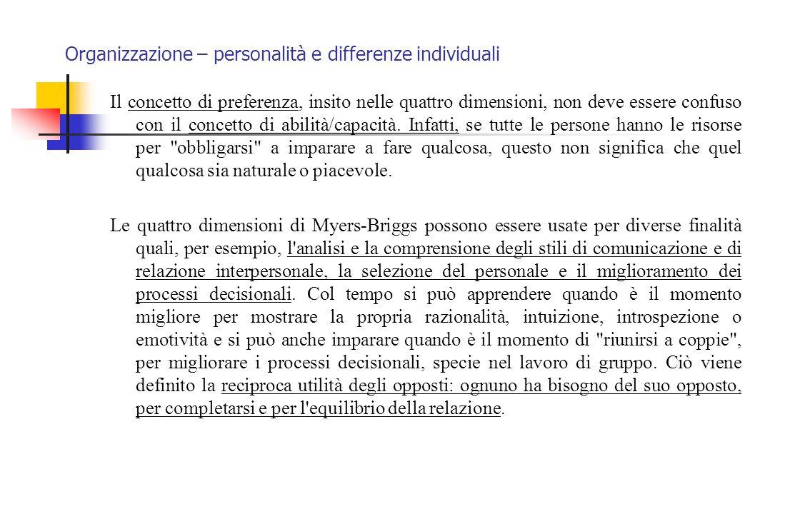 Organizzazione – personalità e differenze individuali Il concetto di preferenza, insito nelle quattro dimensioni, non deve essere confuso con il conce