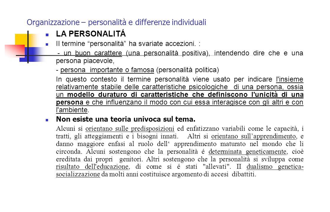 Organizzazione – personalità e differenze individuali Il professionista è una persona focalizzata sul lavoro (non sull'organizzazione) e che spesso considera le richieste dell'organizzazione, nella quale lavora, delle seccature da evitare.