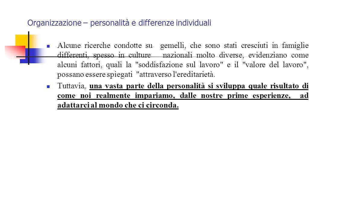 Organizzazione – personalità e differenze individuali Alcune ricerche condotte su gemelli, che sono stati cresciuti in famiglie differenti, spesso in