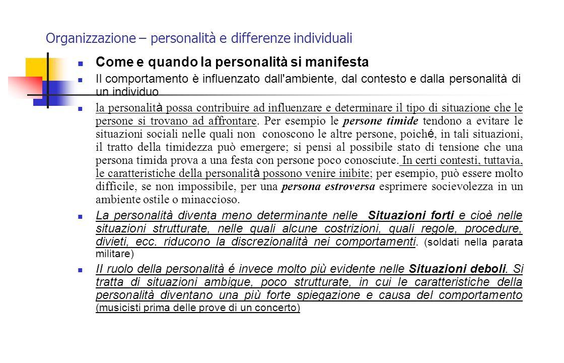 Organizzazione – personalità e differenze individuali Come e quando la personalità si manifesta Il comportamento è influenzato dall'ambiente, dal cont