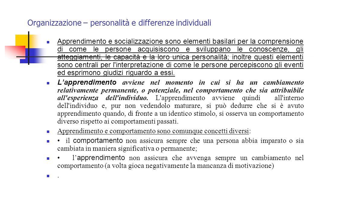 Organizzazione – personalità e differenze individuali Apprendimento e socializzazione sono elementi basilari per la comprensione di come le persone ac